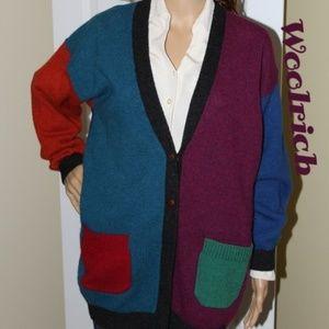 Woolrich 100% Wool Mens Style Color Block Cardi
